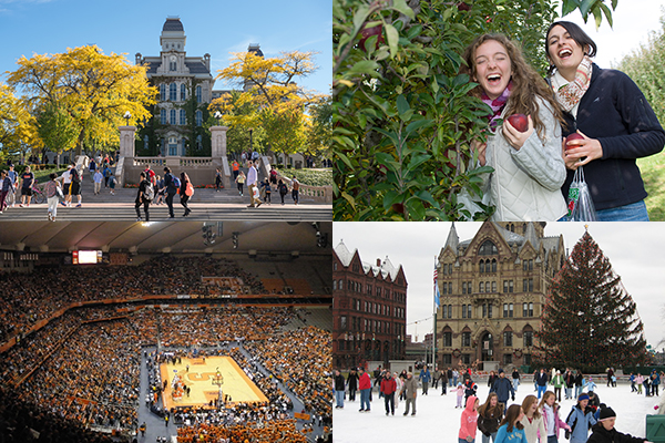 4 photos; (from left to right) 1 of the steps leading to campus, 2 upstate NY apple picking, 3 Carrier Dome during SU Basketball Game, 4 Downtown Syracuse, crowd ice skating in Clinton Square during winter.