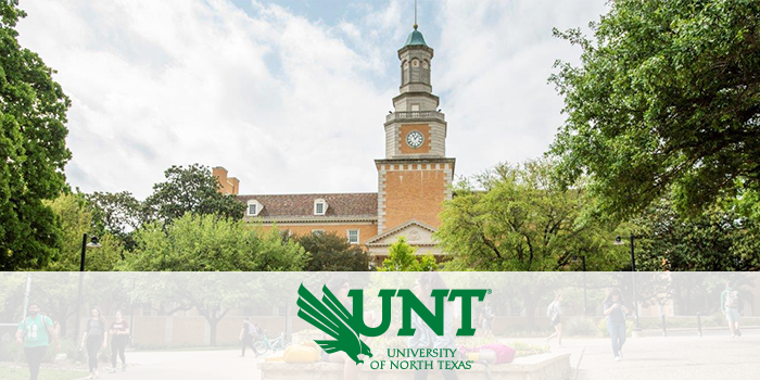 The University of North Texas administration building with UNT branding