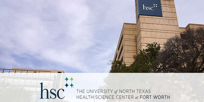The University of North Texas Health Science Center central building with UNTHSC branding
