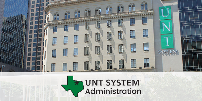 The University of North Texas System Administration building with UNT System branding